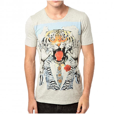 Diesel T-Tigre Crew Neck Print T-shirt Grey