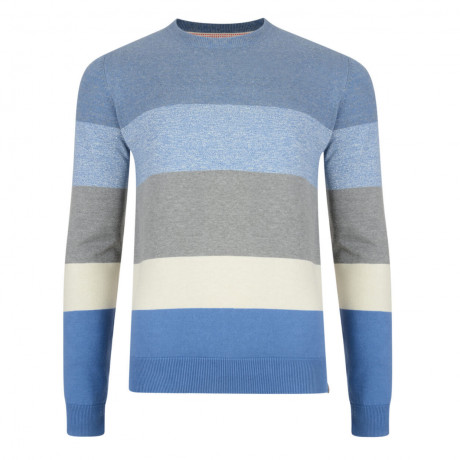 Tokyo Laundry Crew Neck Val Stripe Knit Jumper Grey/Blue
