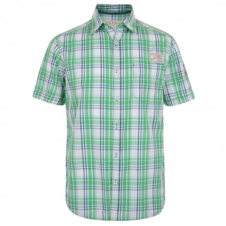 Esprit Slim Fit Short Sleeve Check Shirt Vibrant Green