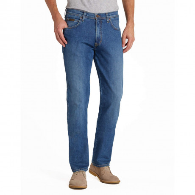 Wrangler Arizona Stretch Denim Jeans Cracked Bleach Blue