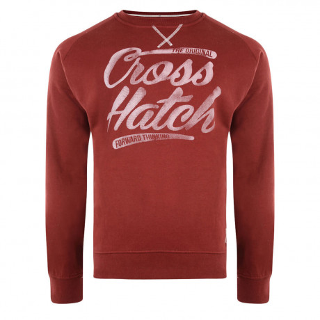 Crosshatch Crew Neck Grabit Print Sweatshirt Sun Dried Tomato