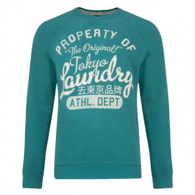 Tokyo Laundry Crew Neck Print Sweatshirt Teal Blue