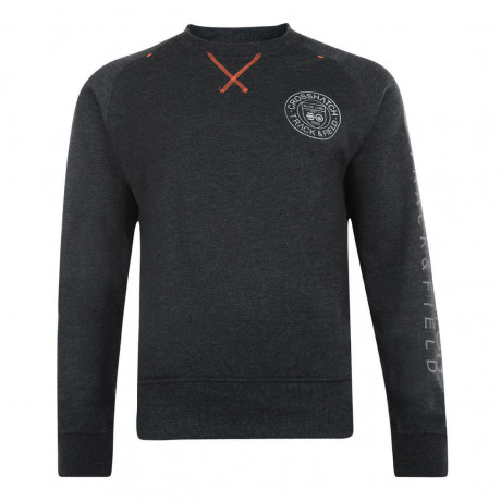 Crosshatch Crew Neck Jaykie Plain Sweatshirt Charcoal Marl