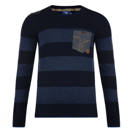 Smith & Jones Crew Neck Gerrard Striped Knit Jumper Navy