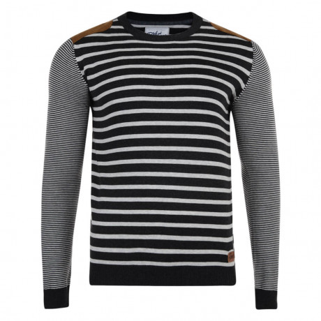Smith & Jones Crew Neck Pictoris Striped Knit Jumper Charcoal