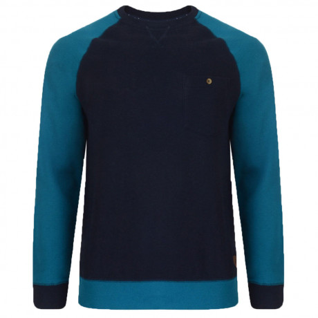 Dcode Crew Neck Two Tone Sweatshirt Blue Ocean Depths