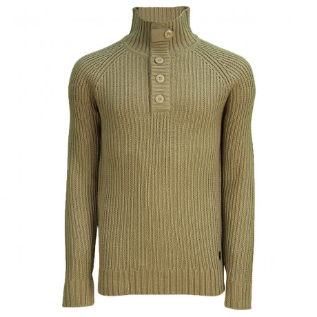 Soul Star Button Neck Bracken Knitted Jumper Taupe