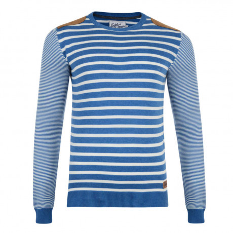 Smith & Jones Crew Neck Pictoris Striped Knit Jumper Le Mans Blue