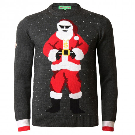 Novelty Christmas Jumper Crew Neck Gangsta Santa Charcoal Marl