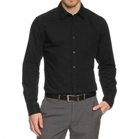 Esprit Slim Fit Long Sleeve Plain Shirt Black