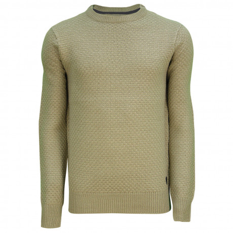 Soul Star Crew Neck Firework Knitted Jumper Taupe
