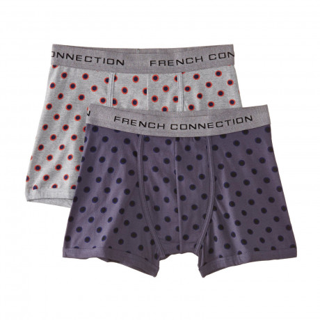 French Connection Men's Boxer Shorts Grey Melange & India Ink 2 Pack