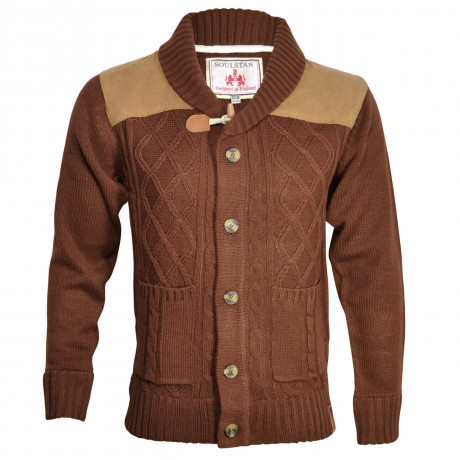 Soul Star Chunky Knit Button Front Cardigan Dark Rust Image