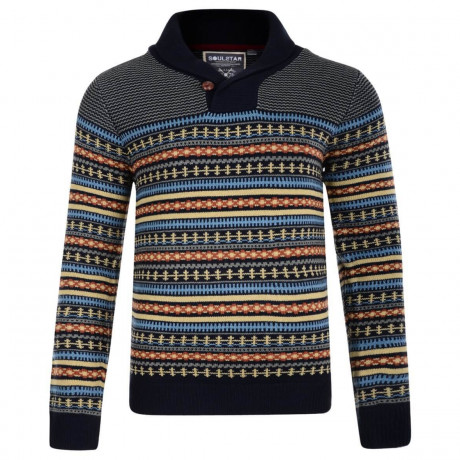 Soul Star Shawl Neck Norwegian Knitted Jumper Navy Blue Image