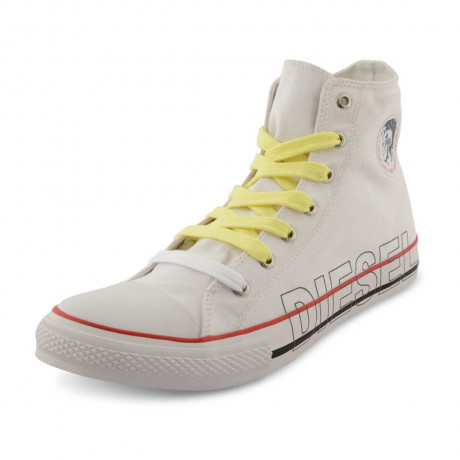 Diesel Mens High Top Canvas Fashion Shoes White Image