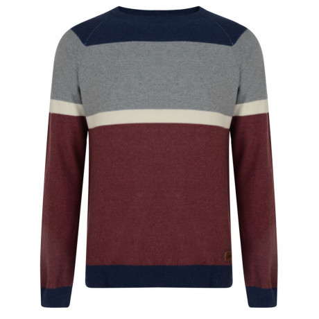 Smith & Jones Crew Neck Stripe Jumper Wine Marl Image