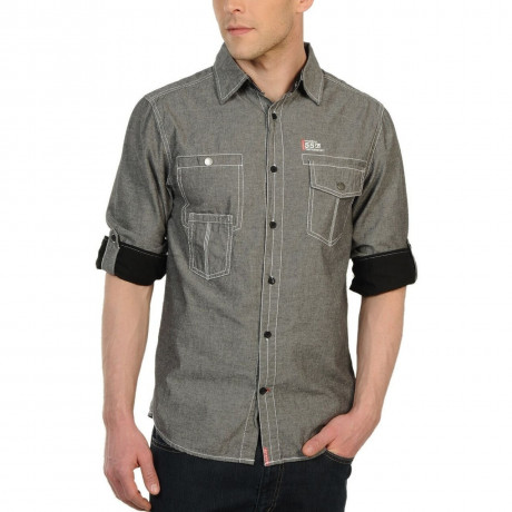 Soul Star Long Sleeve Shirt Plain Grey Image