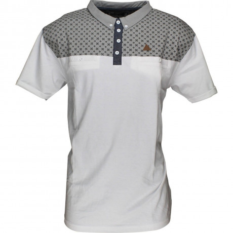 Soul Star Polo Pique T-Shirt White Grey Image