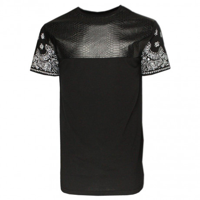 Soul Star Crew Neck Long Length PVC T-shirt Black Image