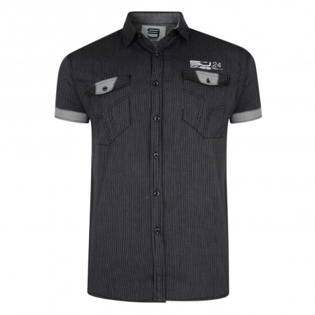 Smith & Jones Thornbury Stripe Shirt Short Sleeve Black Charcoal Image