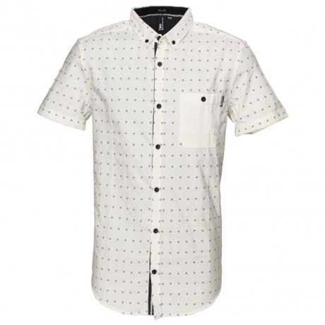 Soul Star Poker Short Sleeve Cotton Shirt White Image