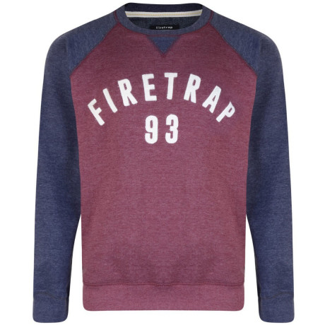 Firetrap Crew Neck Faded Print Sweatshirt Burgundy Image