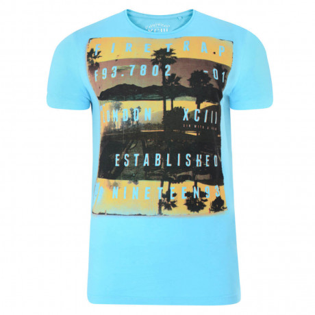 Firetrap Crew Neck Sunset Print T-shirt Sky Blue Image