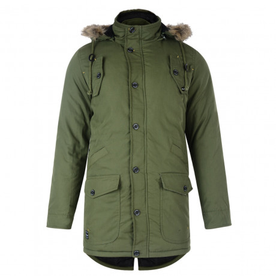 Firetrap Faux Fur Bateman Parka Jacket Cypress Green Image