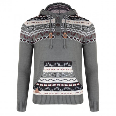 Rock & Revival Olly Fair Isle Hooded Knit Jumper Grey Image