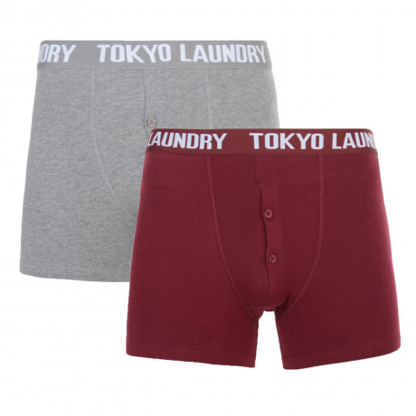 Tokyo Laundry 2 Pack Boxer Shorts Underwear Oxblood Red & Grey Image