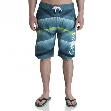 Smith & Jones Swim Beach Shorts & Flip Flop Set Stripe Teal Green Image