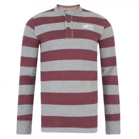 Tokyo Laundry Stripe Crew Neck Henley Top Oxblood Red Image
