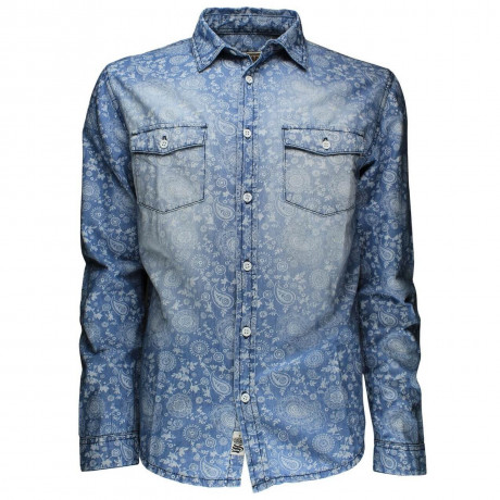 Soul Star Long Sleeve Retro Floral Shirt Light Blue Image