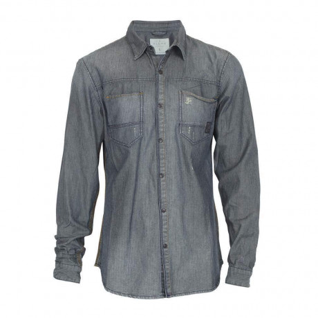 Blend Stripe Blue Faded Denim Shirt Image