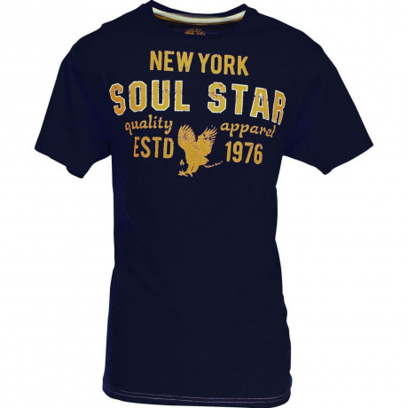 Soul Star New York Print T-shirt Navy Blue Image