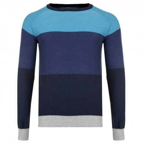 Crosshatch Crew Neck Stripe Jumper Snakker Blue Moon Image