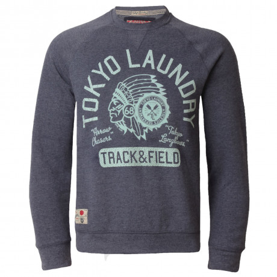 Tokyo Laundry Crew Neck Faded Print Sweatshirt Indigo Blue Marl Image