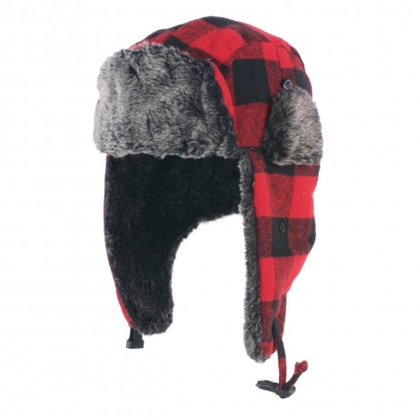 Crosshatch Aviator Faux Fur Trapper Hat Red Check  Image