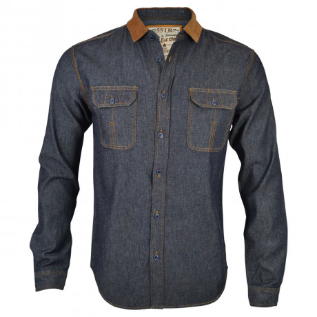 Soul Star Dark Retro Blue Fashion Denim Shirt Image