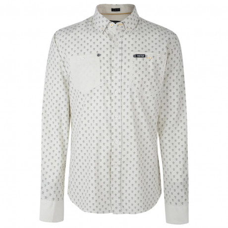 Firetrap Shirt Long Sleeve Printed Cotton Beige Ecru Image