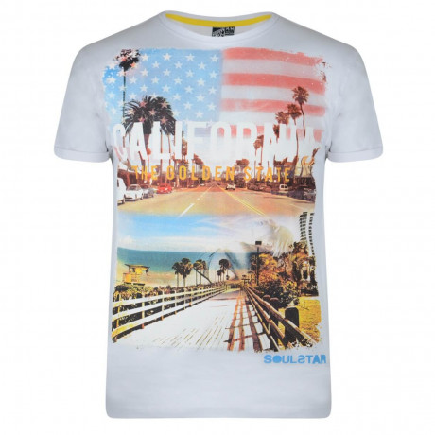 Soul Star Print T-shirt California Golden State White Image