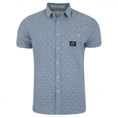 Crosshatch Print Shirt Short Sleeve Cotton Light Blue Image