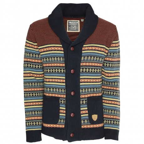 Soul Star Norwegian Knit Button Front Cardigan Navy Blue Image