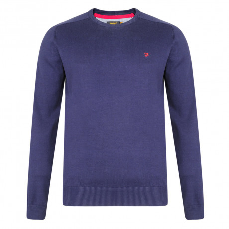 Farah Crew Neck Cotton Jumper Peacoat Blue Image