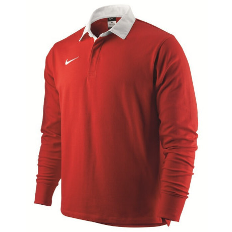 Nike Long Sleeve Cotton Rugby Shirt Red Jersey Top Image