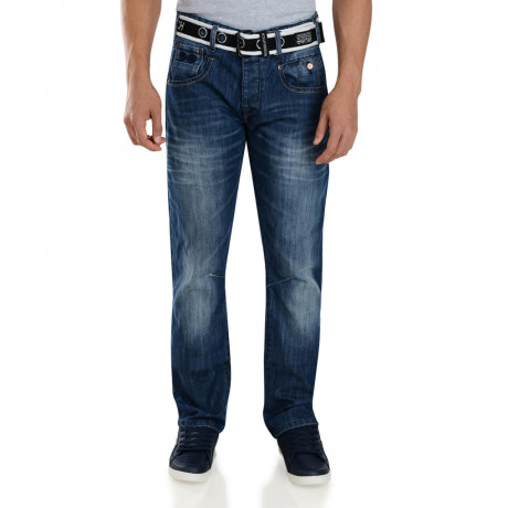 Crosshatch Straight Fit Huntsville Jeans Faded Stone Wash Image