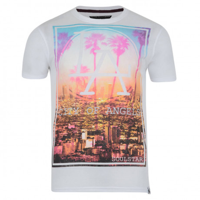 Soul Star Print T-shirt LA White Image