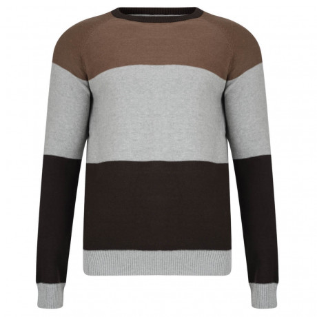 Crosshatch Crew Neck Stripe Jumper Snakker Mocha Brown Image