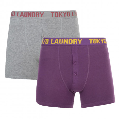 Tokyo Laundry 2 Pack Boxer Shorts Underwear Purple & Grey Image