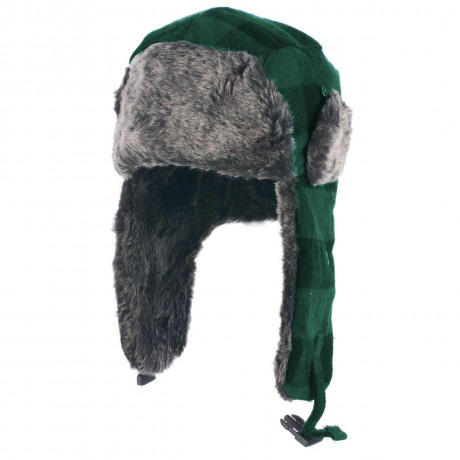 Crosshatch Aviator Faux Fur Trapper Hat Green Check  Image